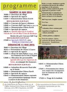 Programme Chasse et Pêche en Citadelle 2016
