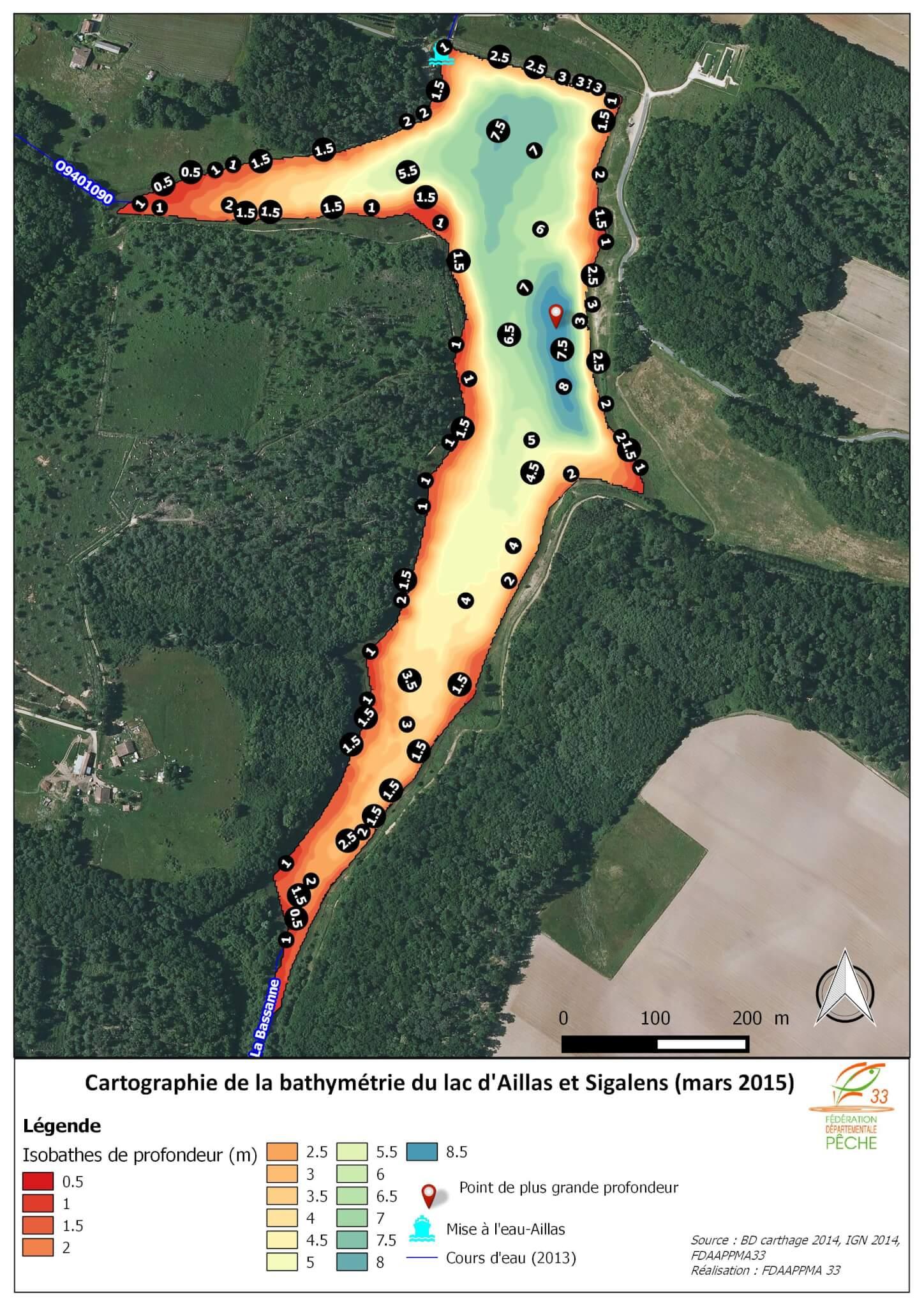 Bathymétrie du lac d'Aillas et Sigalens