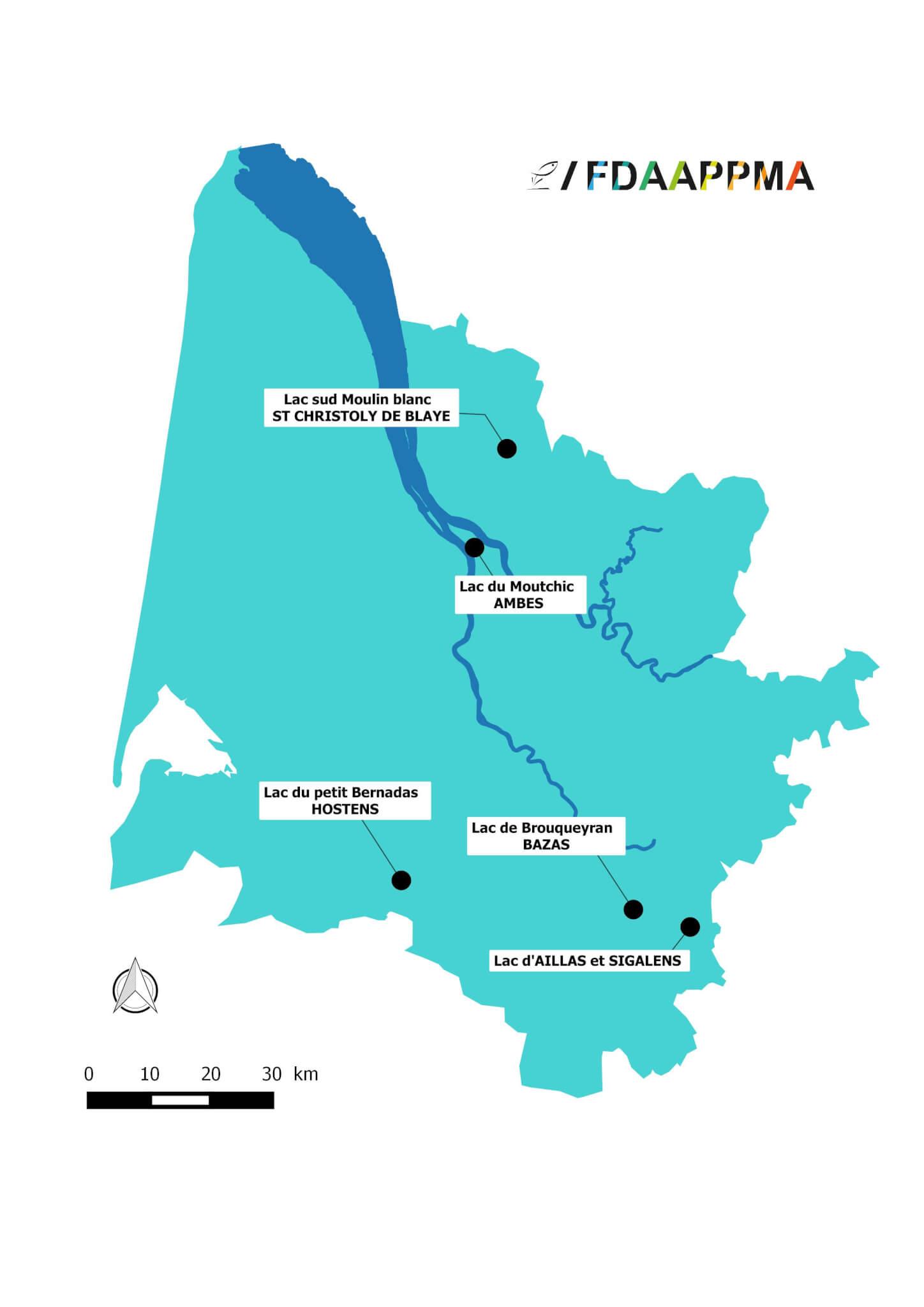 Cartographie du réseau 33 de suivi de plans d'eau