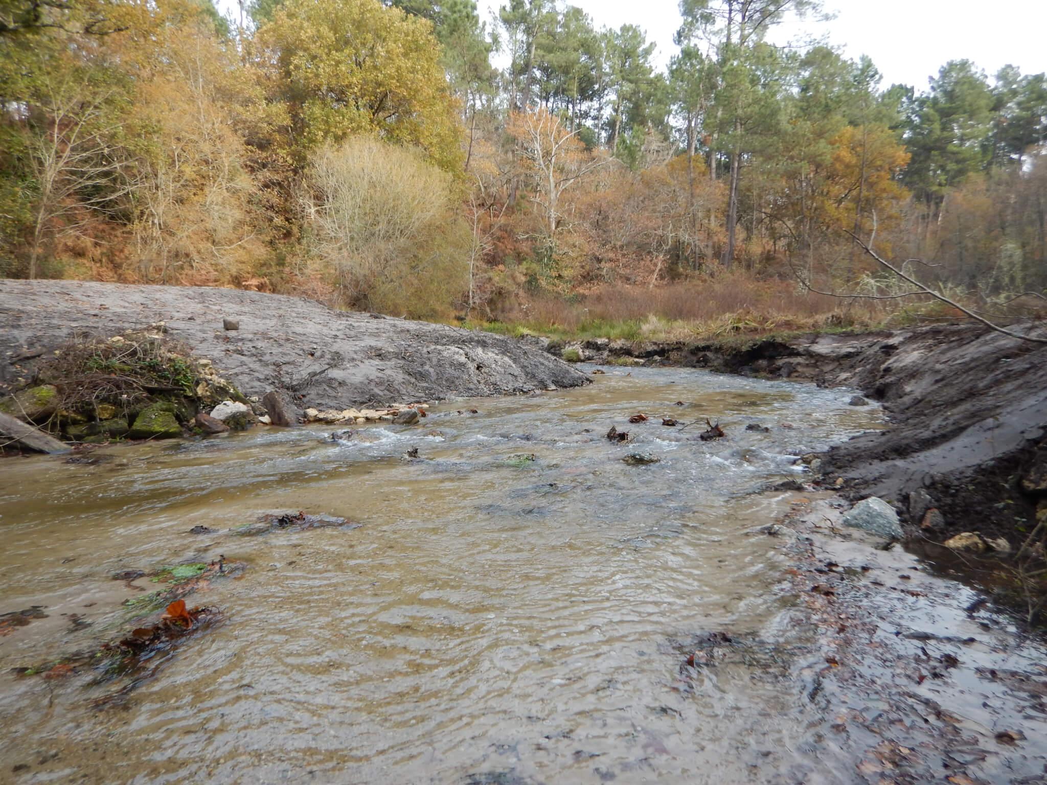 barrage du Graoux affluent Leyre effacé