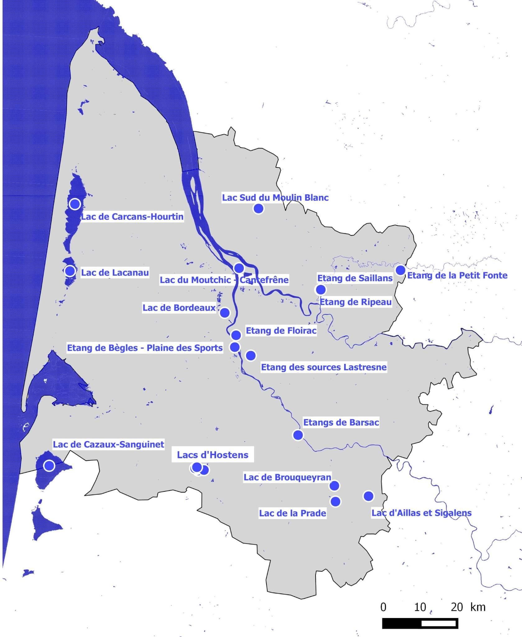 Localisation des plans d'eau où la bathymétrie a été réalisée