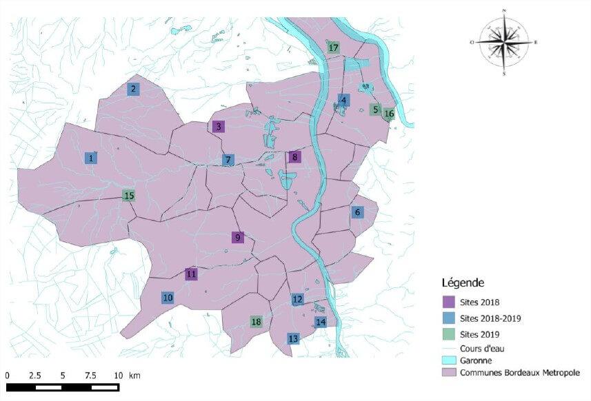 Localisation des inventaires 2018-2019 sur le territoire de Bordeaux Métropole.