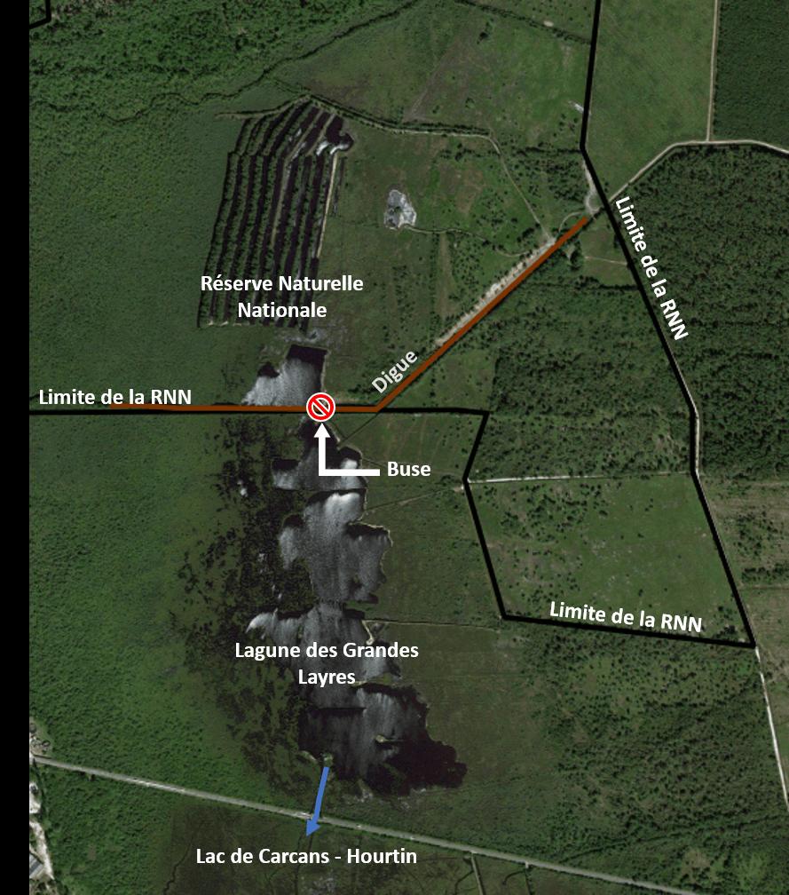 Localisation de la digue et de la buse