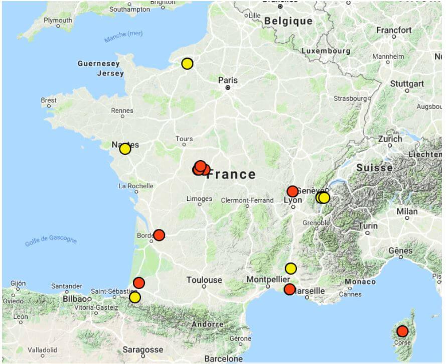 Localisation des sites d'étude en France (source : Golzan R. E., 2019)